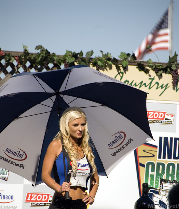 Umbrella Girl at Infineon Raceway Indy Grand Prix in the heart of California's Wine Country