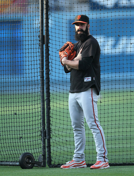 San Francisco Giants pitcher, Brian WIlson's White/Orange Nike Air Max 95 iD