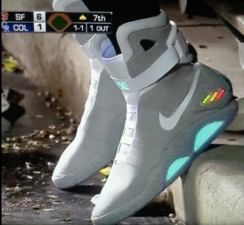 Brian Wilson's Nike Obsession, The Nike Air Mag from Back to the Future, on field.
