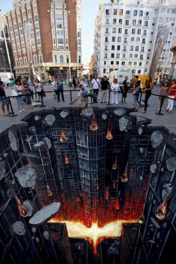 Dark Knight Rises Street Art Painting in Madrid