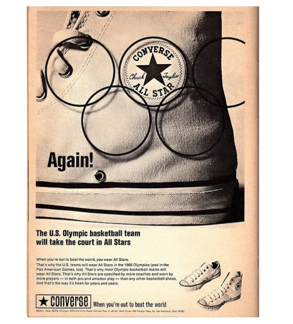 1968 Converse All Star Vintage Sneaker Advertisement for the Olympics